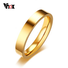 Vnox Classic 4mm Unisex Ring Stainless Steel Simple Alliance for Women Men Trendy Jewelry Rose Gold Color Wedding Band(China)
