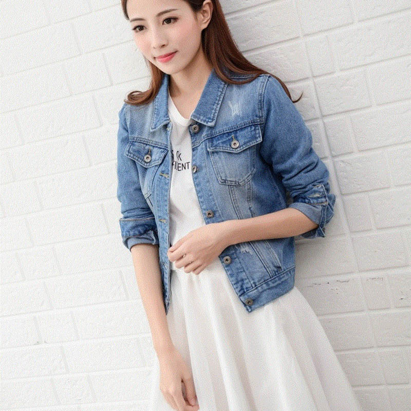 Betyline 2019 New Women's Jacket Light Blue Bomber Short Jeans Jacket Casual Outwear Slim Long Sleeve Black Jeans Jack Coat