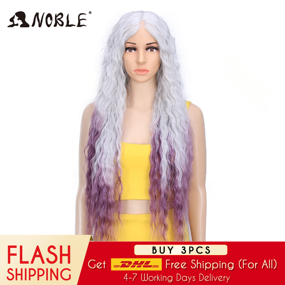 Noble Hair Synthetic Wig Lace Front Synthetic Wig Long Curly Ombre Blonde Wig 38 Inch  613 American Synthetic Lace Front Wig