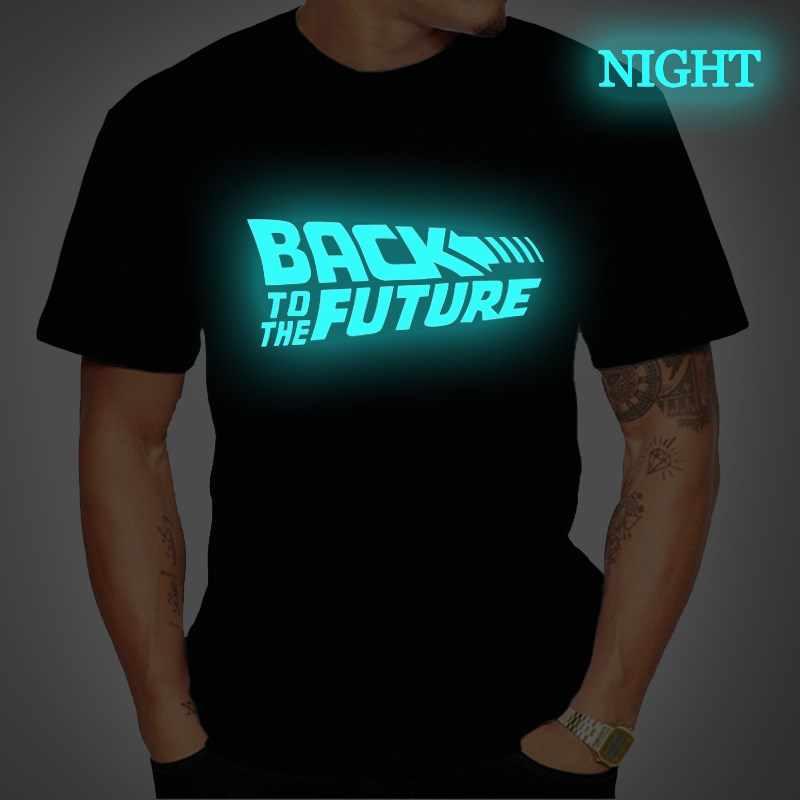 Terug Naar De Toekomst Lichtgevende T-shirt Mannen Zomer Korte Mouw T-shirt Casual Tee Tops Mannelijke Streetwear Zwart T shirt Koszulka Meska