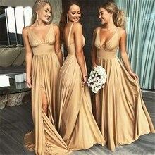 Prom-Dress Evening-Gown Custom-Gown Satin Golden V-Neck HALTER Sleeveless Floor Elastic