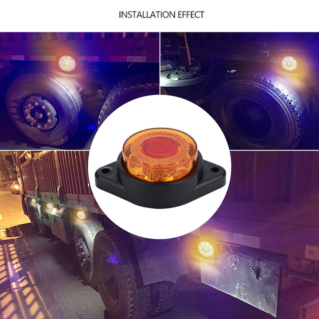 Rounde 8LED 24V Trailer Truck lights Clearance Side Marker Light yellow color lorry truck pickup amber led tail light tailligh
