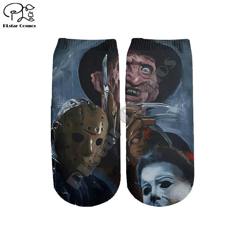 PLstar Cosmos Drop Shipping Halloween Horror 3D Printed Women/men/boy/girl Cartoon Colorful Casual Funny Short Ankle Sock Style1