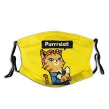 Purrrsist unisex máscara facial reutilizável gato engraçado amante anti névoa máscara de poeira com filtros proteção capa respirador boca muffle