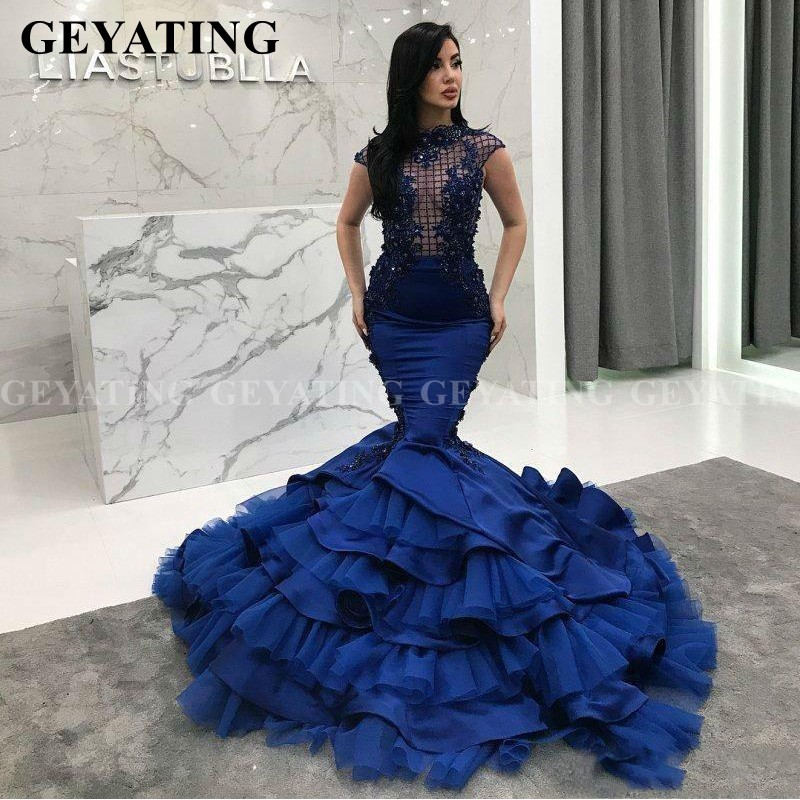 Saudi Arabia Royal Blue Mermaid Evening Dress Real Photos Plus Size African Prom Dresses Elegant Women Long Formal Party Gowns