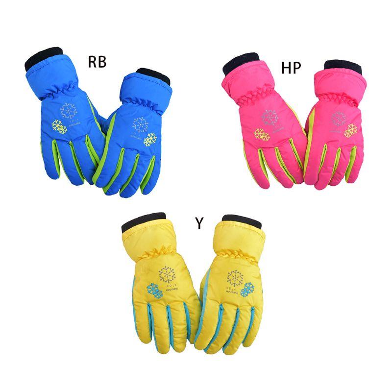 Kids Children Snow Ski Gloves Winter Waterproof Thicken Thermal Lining Wrist Warmer Snowflakes Print Non-Slip Mittens With Rope