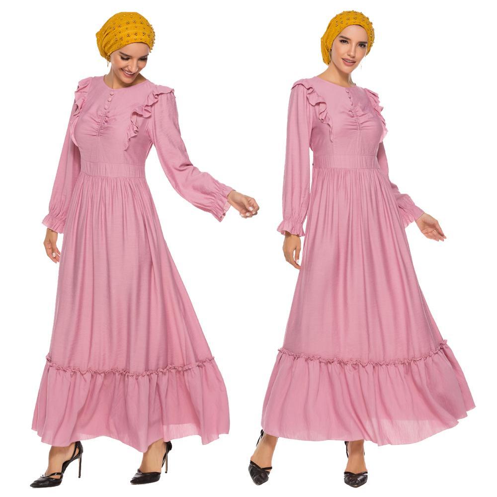 Women Muslim Ruffle Abaya Arab Pleated Long Sleeve Maxi Party Dress Islam Kaftan O-neck Draped Turkish Romany Dress Casual Robe