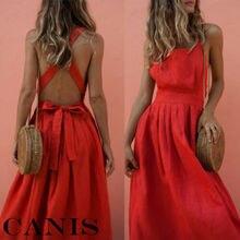 Women Summer Boho Strappy Long Maxi Dress Sexy Backless Party Red Beachwear Sundress vestido mujer