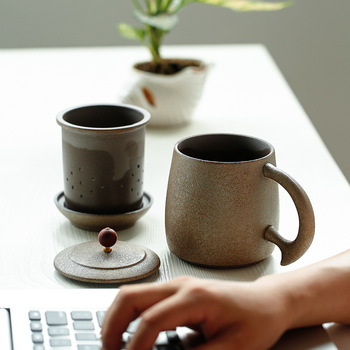 Taza de cerámica gruesa de estilo japonés, Taza de cerámica con tapa de filtro, taza de oficina hecha a mano, copa de cocción a alta temperatura, Taza de cerámica Personal