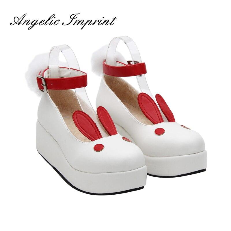 Ayakk.'ten Kadın Pompaları'de Japon Harajuku Lolita Cosplay Ayakkabı Kawaii Tavşan Kulak Tatlı Kızlar Ayak Bileği Kayışı Kama Ayakkabı'da  Grup 1