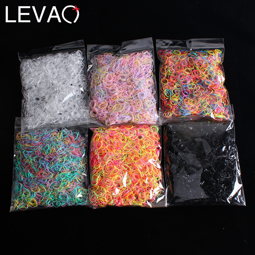 Levao 1000pcs/Pack Disposable Gum For Hair Child Rubber Band Ponytail Holder Elastic Hair Bands Girls Scrunchie Hair Accessories