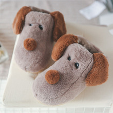 1 Pair Dog Home Slippers Cute Cartoon Dog Winter Slippers Cotton Home Indoors Couple Parent-Child Slippers Shoes цена 2017
