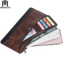 MISFITS cartera larga de piel auténtica para hombre, bolso de mano fino, bolso para teléfono masculino con tarjetero desmontable, monedero de alta calidad, novedad de 2020