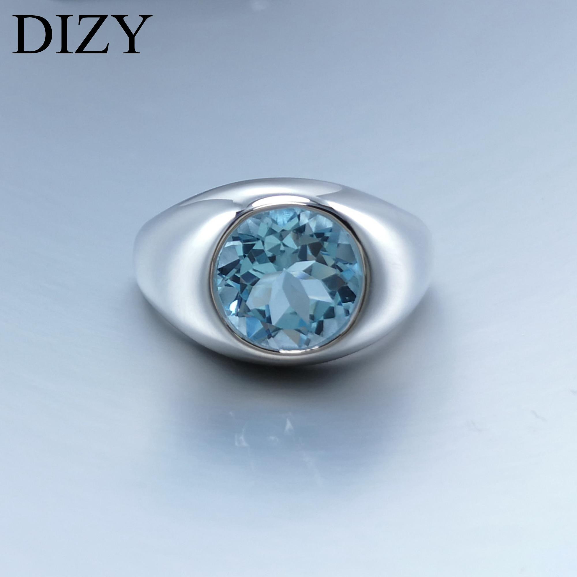 DIZY rond 4.5CT naturel bleu ciel bague topaze 925 en argent Sterling bague de pierres précieuses pour les femmes cadeau de mariage bijoux de fiançailles
