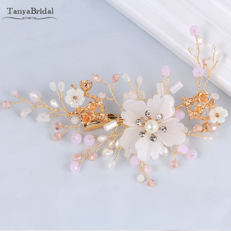 Light Pink Crystal Beads Wedding Headpieces Flowers Lady Hairdress Fashion Accessories  DH035