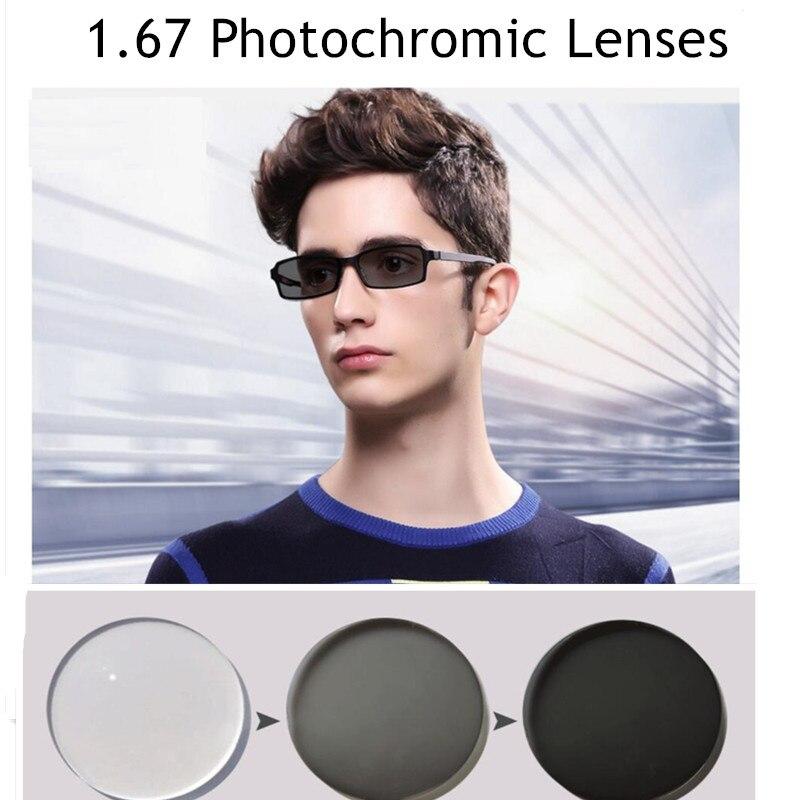 Vazrobe 1.67 indice verres photochromiques lentilles 2 pièces résine lentille changer en gris/marron Anti reflet rayure transition UV400