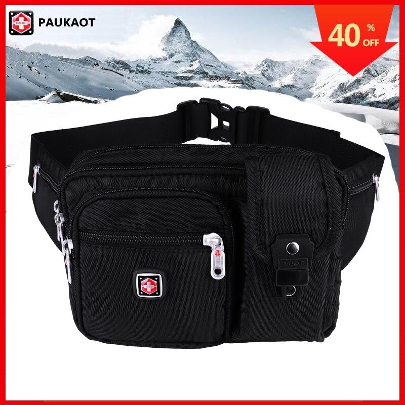 PAUKAOT Small Waist Pack Travel Fanny Packs Phone Pouch Money Purse Bum Hip Belt Bag Waterproof For Men Black Pockets