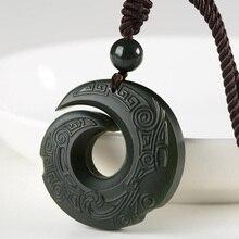 Pendant-Jewelery Jade Amulet Hetian Lucky Natural Evil Qing-Yu Exorcise Spirits Auspicious