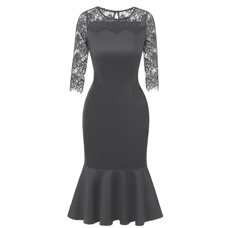 Autumn Womens <font><b>Elegant</b></font> <font><b>Sexy</b></font> Crochet Hollow Out Pinup Work Office Business Casual <font><b>Cocktail</b></font> Party Fitted Bodycon Mermaid <font><b>Dress</b></font> image