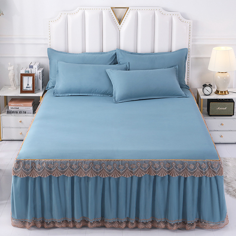 1pcs Luxury Solid Lace Ruffle Bed Skirt Quality Thicken Elastic Non-Slip Bedspreads Sheet Soft Mattress Cover No Free Pillowcase