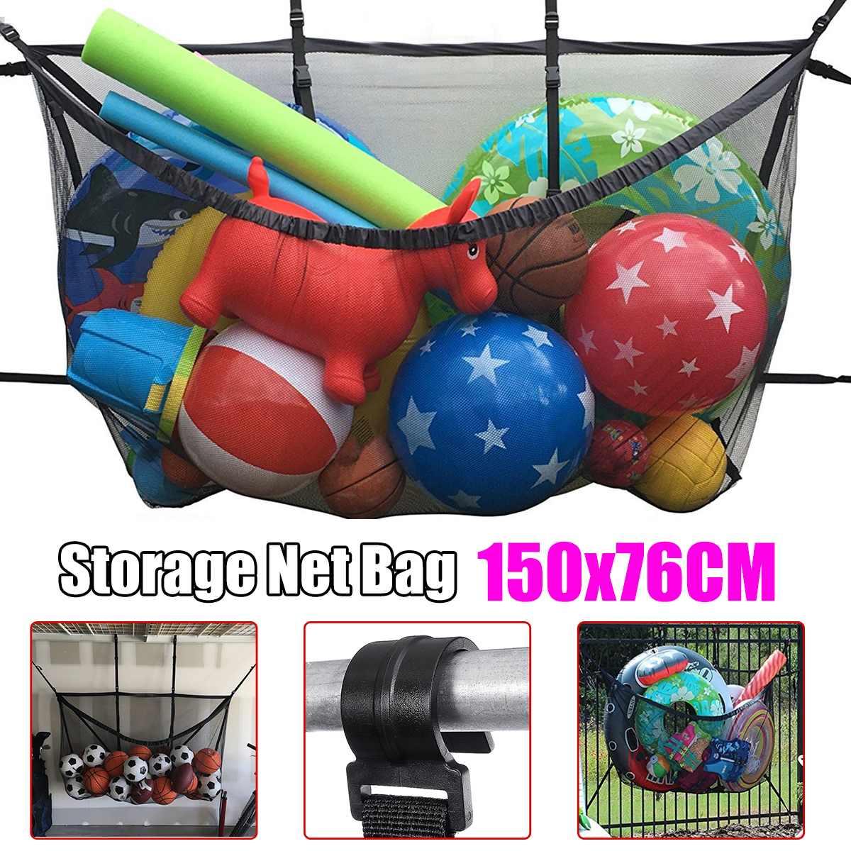 Large-capacity Adjustable Hanging Swimming Pool Storage Bags Net Bag  Football Basketball Inflatable Toys Storage Bags