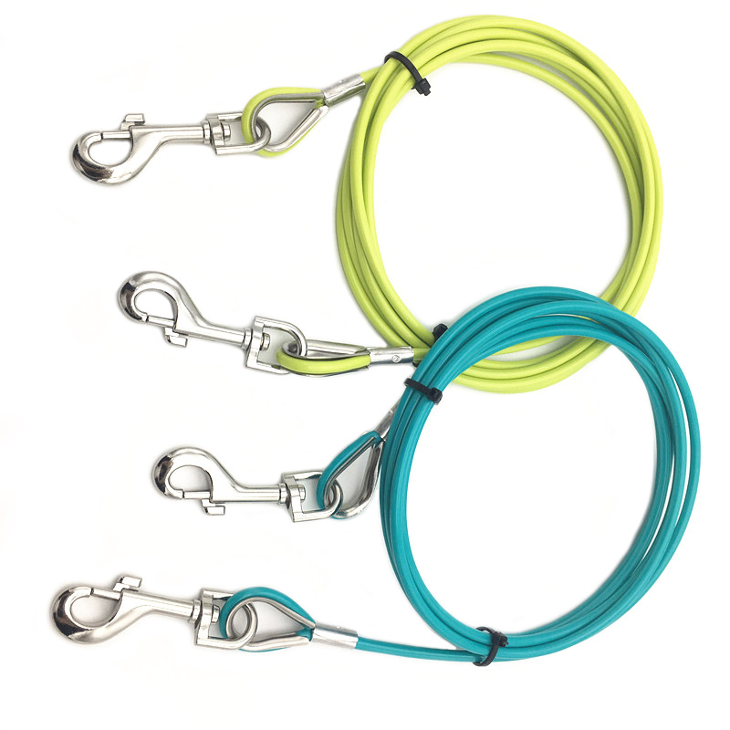 Plastic Coated Color Steel Wire Lanyard Zinc Alloy Fittings Pressure Ring-pull Lanyard Pressure Buckle Traction Dog Lanyard