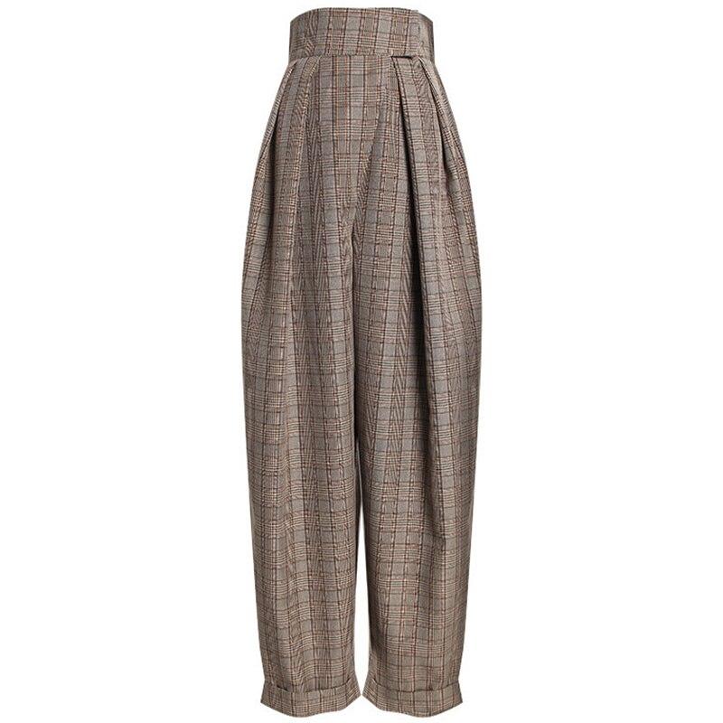 Women Harem Pants High Waist Autumn Winter Plaid Loose Casual Pants Women Trousers