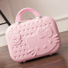 HELLO KITTY Hot Selling Hand Cosmetic Case 14 InchMakeup Beauty Case Cosmetic Bag Lockable Jewelry Box for Ladys Gift Pink Vs