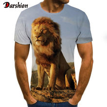 3D Mannen T-shirt Mannen Kleding Mode Korte Mouwen Lion Patroon Punk Rock T-shirt 3D Gedrukt T-shirts Zomer Causual tops(China)
