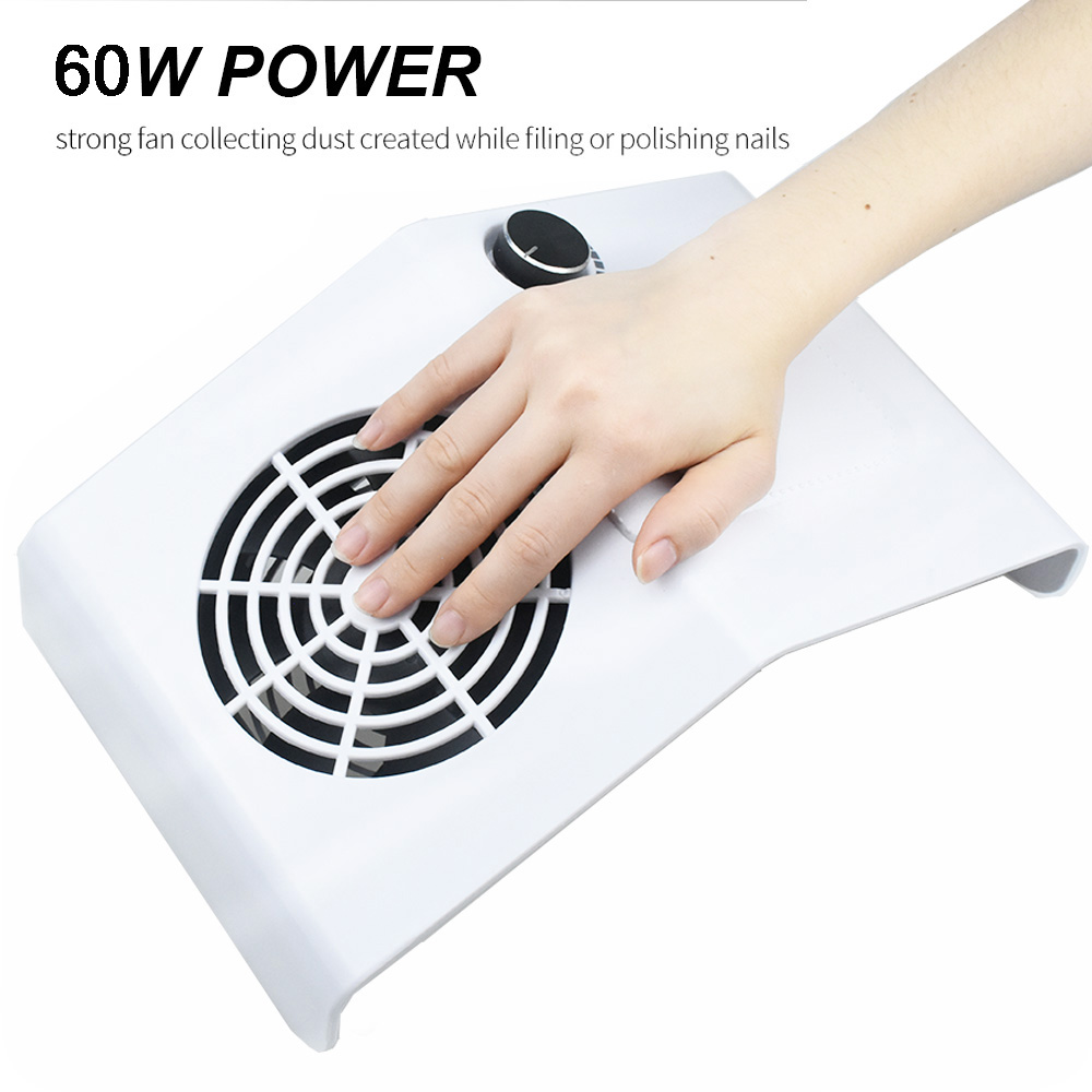 60W Powerful Nail Dust Suction Collector Vacuum Cleaner Professional Manicure Tool With Suction Adjustment Nail Salon Equiment