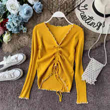 NiceMix Autumn Women Sweaters Ruched Casual Knitwear Drawstring Lace Up Pullovers Ladies Tops Thin Jumpers Sueter Mujer cowl neck ruched longline knitwear