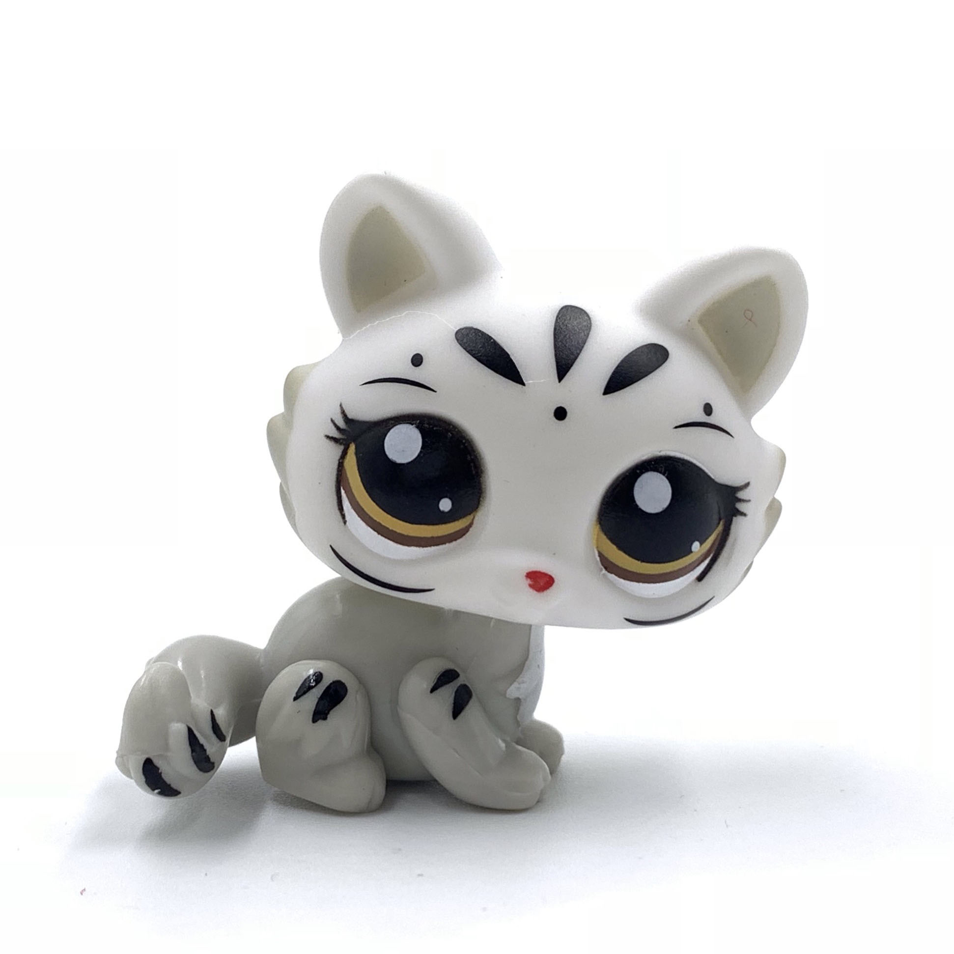 Pet Shop Toys Rare Animal  SPHYNX Cat #3585 White Kitty Grey Tiger Cat Present For Boys And Gifts