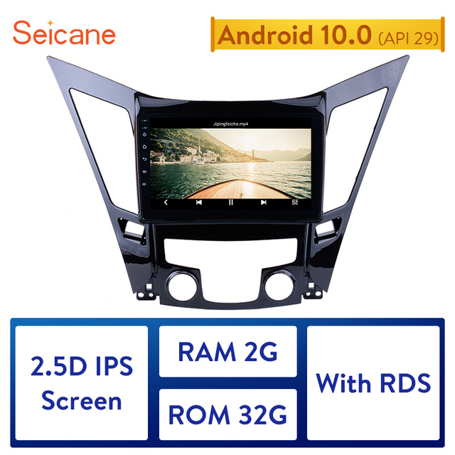 Seicane Ram 2 Gb Rom 32 Gb Android 10.0 Auto Head Unit Speler Gps 9 Inch Voor 2011 2012 2013 2014 2015 Hyundai Sonata I40 I45