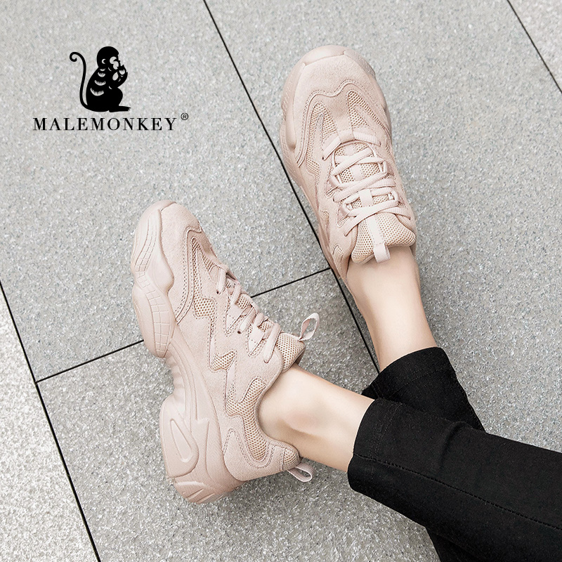 Женские кроссовки MALEMONKEY, мягкие дышащие повседневные кроссовки на платформе, на шнурках, на весну 2020, 012838