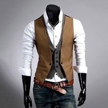 Men's Vest Jacket Blazer Waistcoat Men Clothing Sleeveless Double-Breasted Fake 2pieces