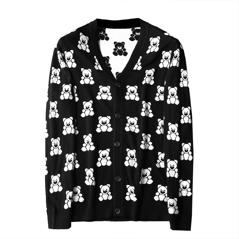 New Men Luxury Winter Gentleman Embroidery Bear Knit Casual Sweaters Cardigans Asian Plug Size High Quality Drake #N20