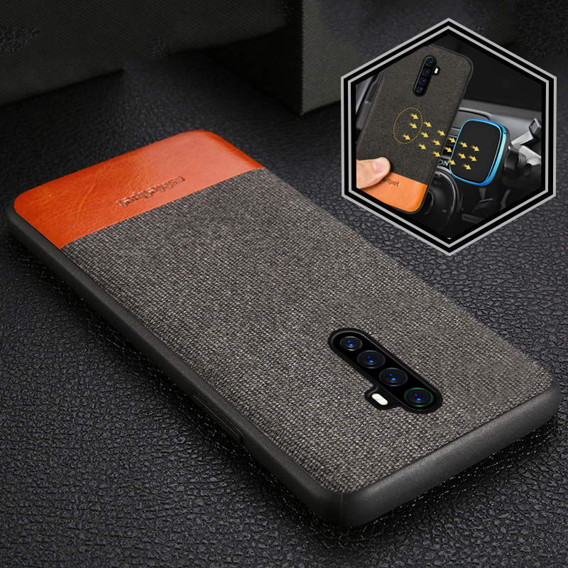Canvas + Leather Magnetic <font><b>Phone</b></font> Case for <font><b>Realme</b></font> X2 Pro X2 X XT 5 6 Pro Cover For <font><b>OPPO</b></font> A5 A9 2020 Reno 4 2 <font><b>3</b></font> Z Ace Find X2 cover image