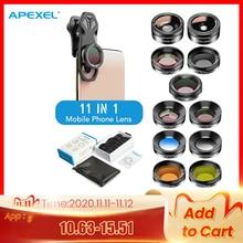 APEXEL 11 ב 1 מצלמה טלפון עדשת ערכת רחב זווית מאקרו מלא צבע/גראד מסנן CPL ND סינון כוכבים עבור iPhone Xiaomi כל Smartphone