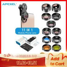 Apexel kit de lentes 11 em 1 para câmera, ângulo aberto, macro, filtro de cor completa/upgrade, cpl, estrela para iphone xiaomi todos os smartphones