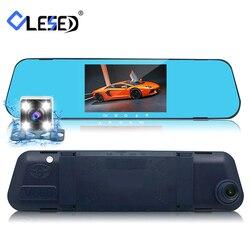 Автомобильный видеорегистратор dvr с двумя объективами зеркало заднего вида авто видеорегистратор регистратор автомобиля видео full hd фронта...