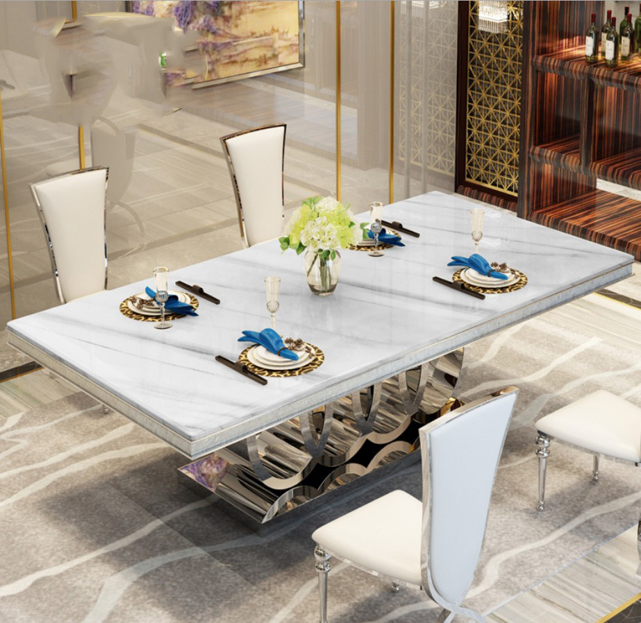 Modern Style Italian Dining Table, 9 Solid Wood Italy Style marble top  Luxury Dining Table 9
