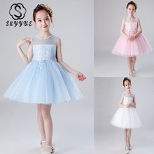 Skyyue Pageant Dress Embroidery Tulle Flower Girl Dress for Wedding N Kid Party Girls First Holy Communion Dress 2019 BX1715 недорого