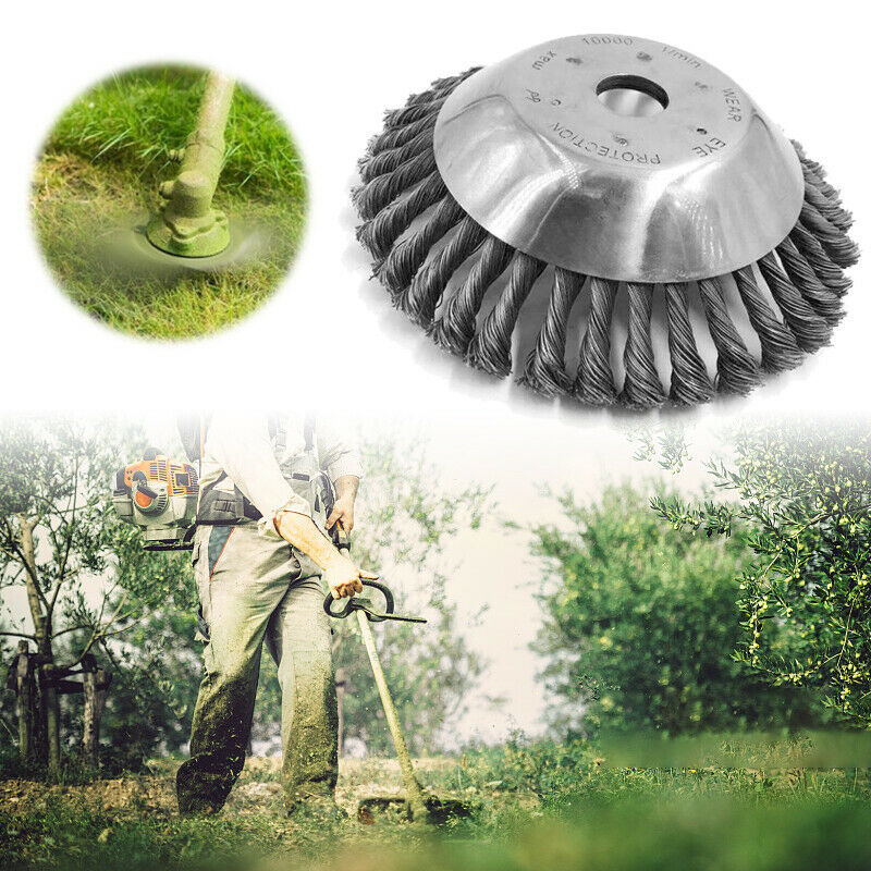 Image 5 - 15/19cm Steel Wire Wheel Brush Grass Trimmer Head Weed Cleaning Tools Lawn Mower Grass Cutter For Garden Lawn CareTool Parts   -