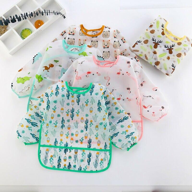Baby Kids Toddler Long Sleeve Waterproof Art Smock Feeding Bib Cute Cartoon Dinosaur Burp Cloths Apron Pocket 1-6Y