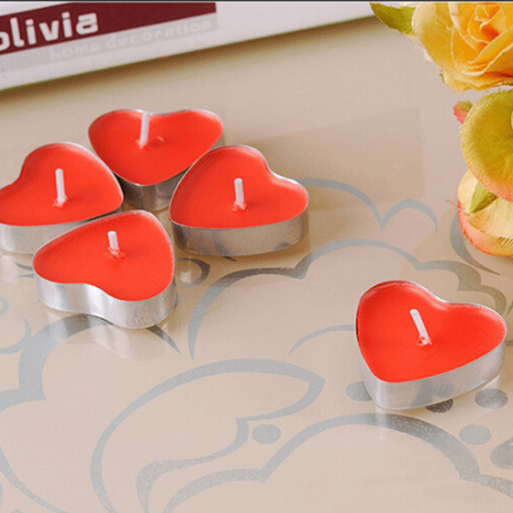 100PCS Heart-shaped Empty Aluminum Tealight Candle Wax Tins Jars Cases Containers Molds Holders For DIY Candle Making 20x20mm