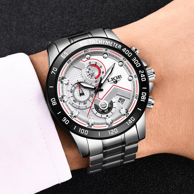 Relogio Masculino LIGE 2020 Fashion Mens Watches Top Brand Luxury Wrist Watch Quartz Clock Blue Watch Men Waterproof Chronograph