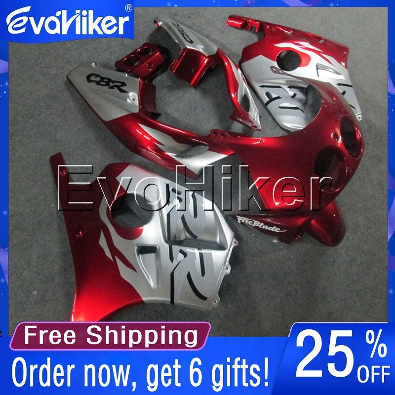 Custom motorcycle cowl for <font><b>CBR250RR</b></font> MC19 1988-1989 ABS <font><b>fairing</b></font> Injection mold motorcycle bodywork <font><b>kit</b></font> red silver+gifts image