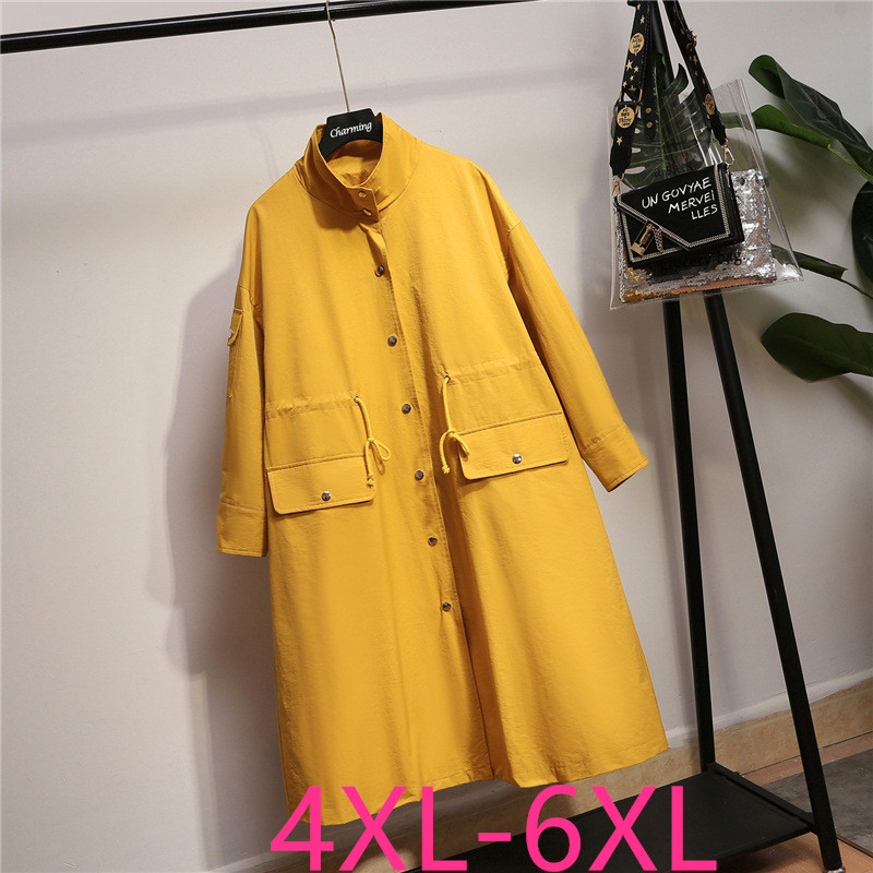 2019 New Autumn Winter Women Plus Size Casual Loose Long Sleeve Coat Trench Windbreaker Large Size Yellow Overcoat 4XL 5XL 6XL