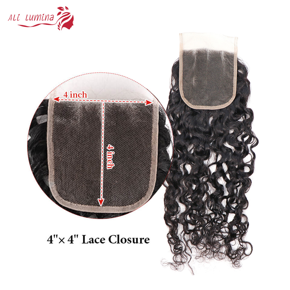 Curly Hair  Bundles 3 Bundles with 4*4 Lace Closure Natural Color  hair 100%  s Double Weft Hair 6