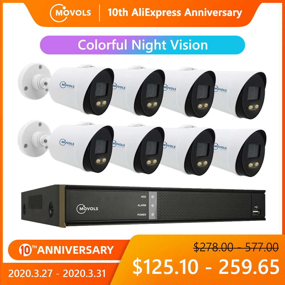 Movols 1080P Colorful Night Vision CCTV Kit Outdoor Waterproof Video Surveillance System 8CH DVR 8PCS/4PCS Security Camera Set|Surveillance System| |  - title=
